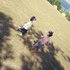 公園で思いっきり走る双子♪の画像