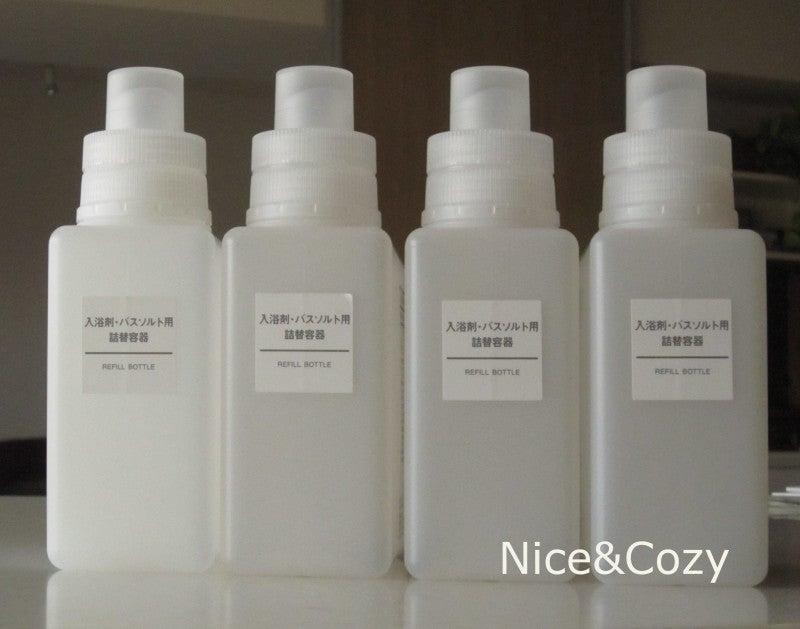 入浴剤用詰替広口ボトルに洗剤を詰め替える