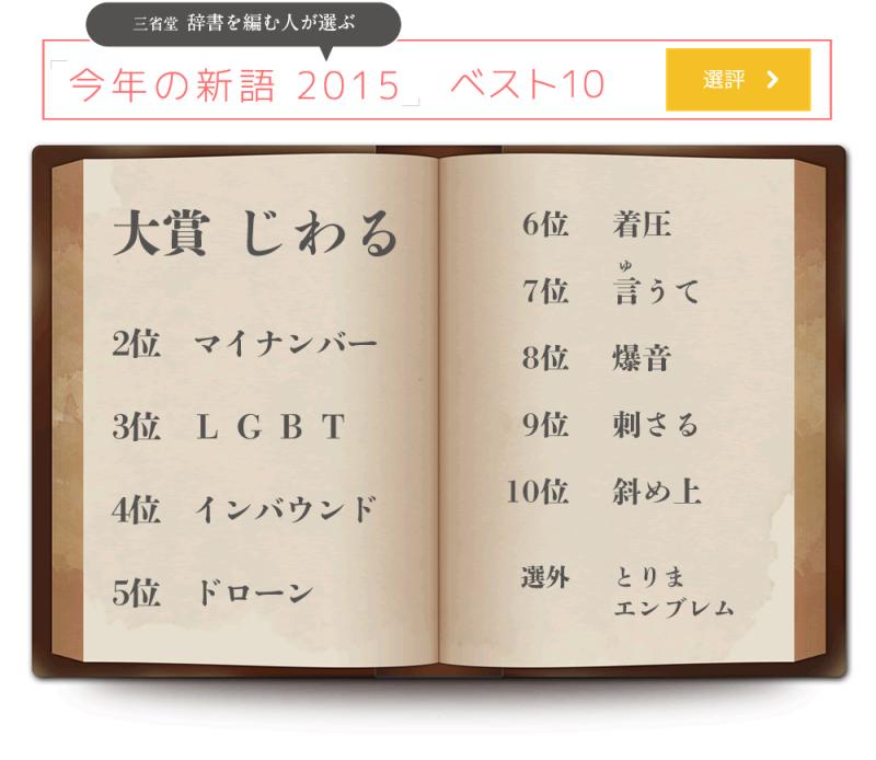今年の新語ベスト10   カモッチャンのメッチャクチャ山・旅 日記