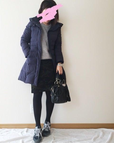無印良品ダウンコートで防寒ばっちり!ささやかな柄…ユニクロカモフラスカートも。