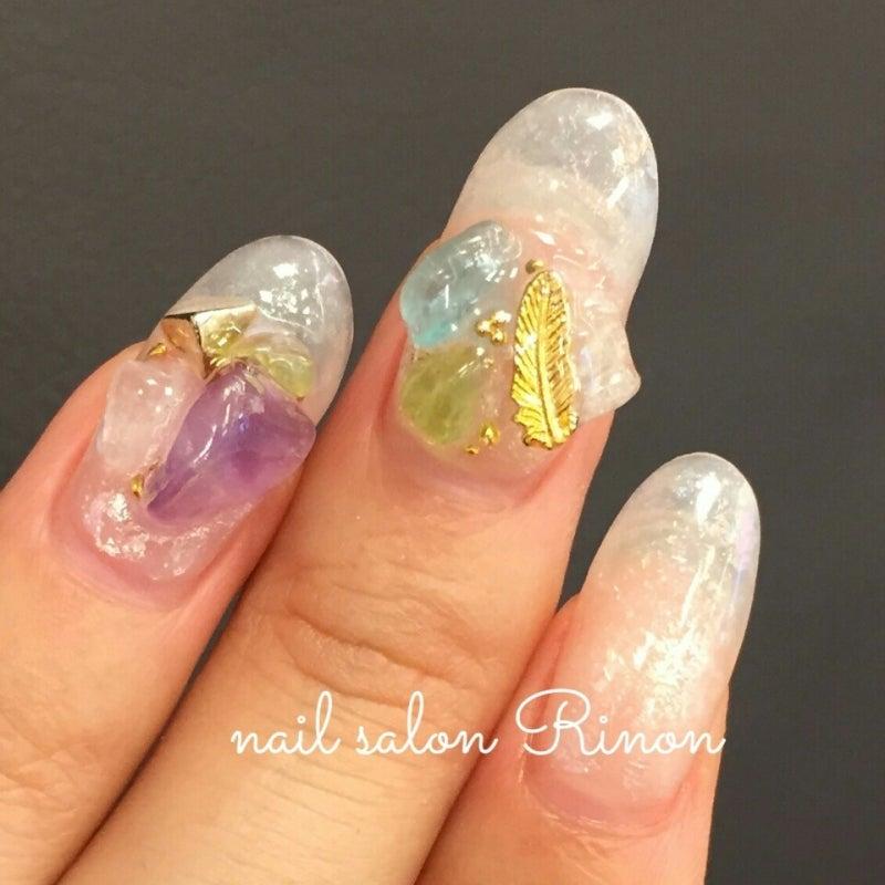 * ホイルアート * クリア 天然石ストーン ネイル|nail salon Rinon