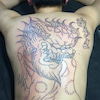 刺青★唐獅子牡丹(背中)スジ彫り!の画像
