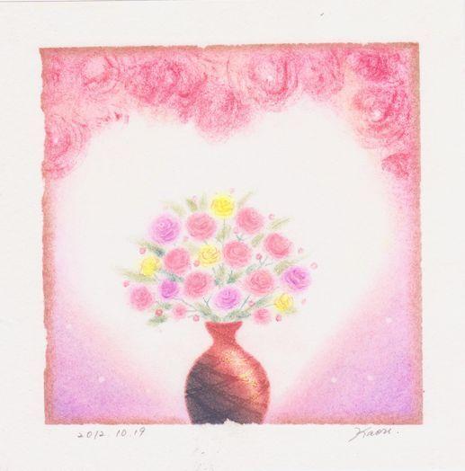 花瓶の花☆パステル和アート