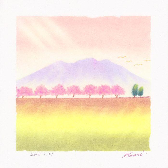 土手の桜☆パステル和アート
