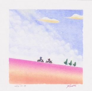 自転車に乗る少女☆パステル和アート