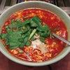 日吉のニュータンタンでタンタンスープメチャ辛たまごダブルニラ入りと焼肉の画像