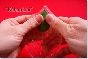 親指で粘土ペタペタ葉を作る