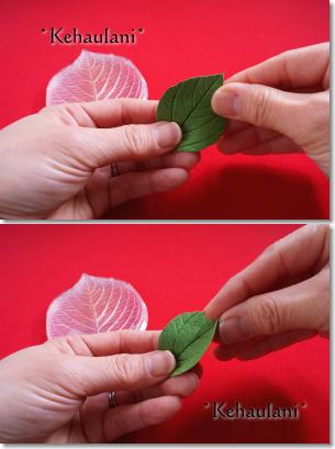 型で作った葉に動きを付ける