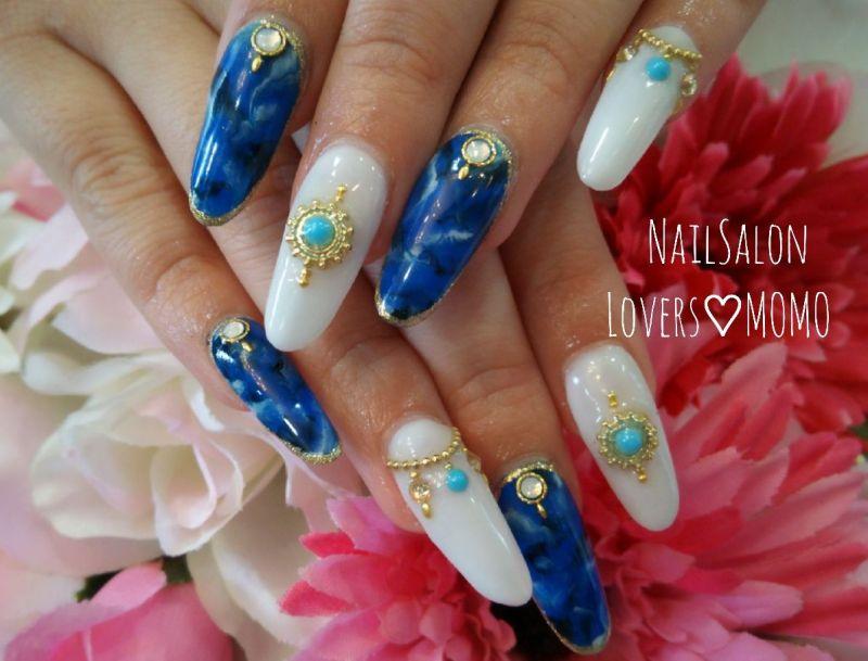 青の大理石柄×ターコイズネイル♡福山 ネイルサロン|nail salon LoversMOMOのブログ♡