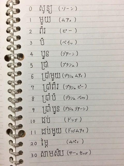 クメール語・数字!   地球の旅...
