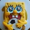 スポンジボブ マシュマロフォンダントケーキの画像
