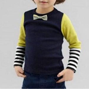 子供服セレクトショップ【mimosala clothes】ボーダー&蝶ネクタイロングTシャツ♪の画像