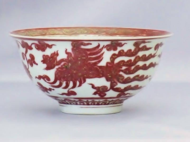 釉裏紅双鳳凰紋碗