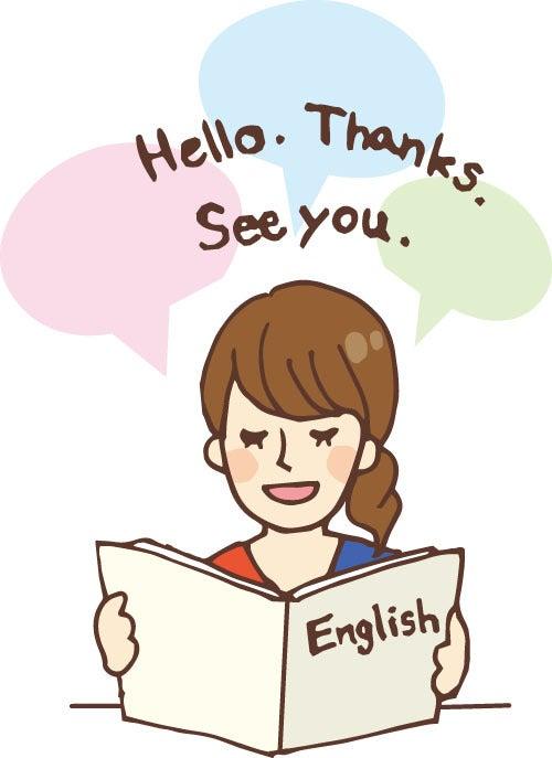 英語のテキストを読んでいる女性