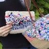 オーダー頂いてた、裂き編みポーチ2種類の画像