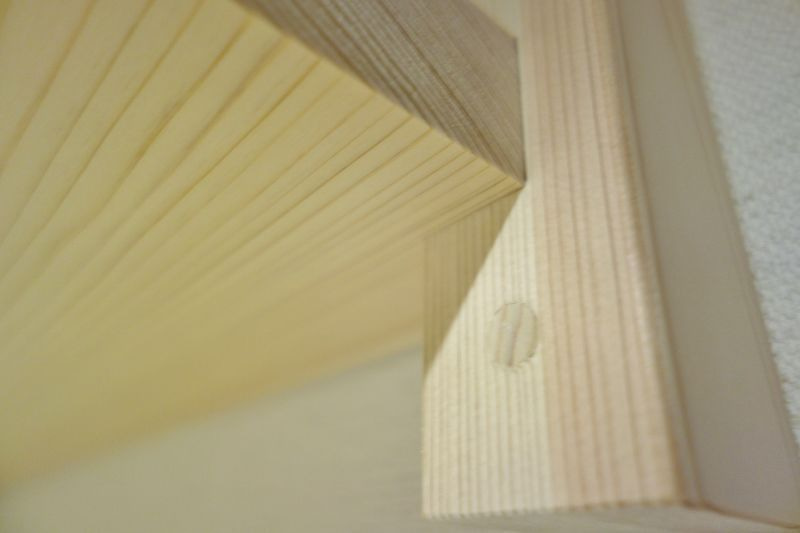 桧木の支柱/ビス穴を隠す作業