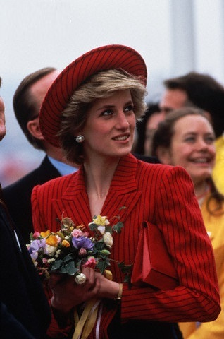 Princess Diana in Striped Red Suit