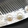 ■銀製菊手彫りアコヤパール付き櫛 準礼装の装い、華やかな装いにお勧めな銀製櫛。の画像
