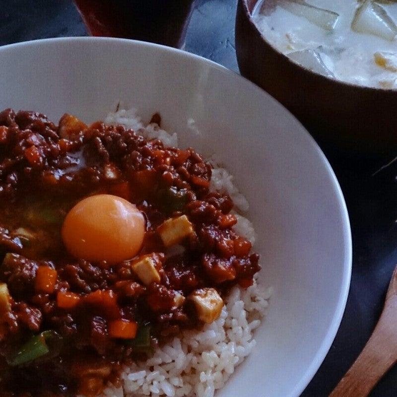 レンジで簡単!キーマカレーと冬瓜のスープ