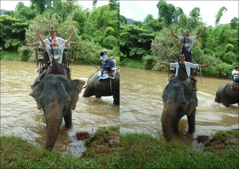 象に乗って川を渡って山登り!象の背中は広い☆26