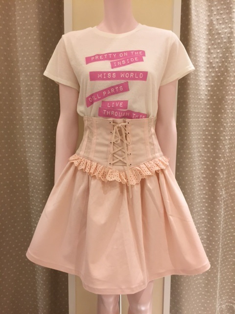katie corsetti basque skirt pink flyer tee baby pink moon