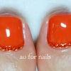ジューシーオレンジカラーで夏ペディキュアの画像