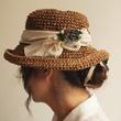 猫の絵柄の布花コサー…
