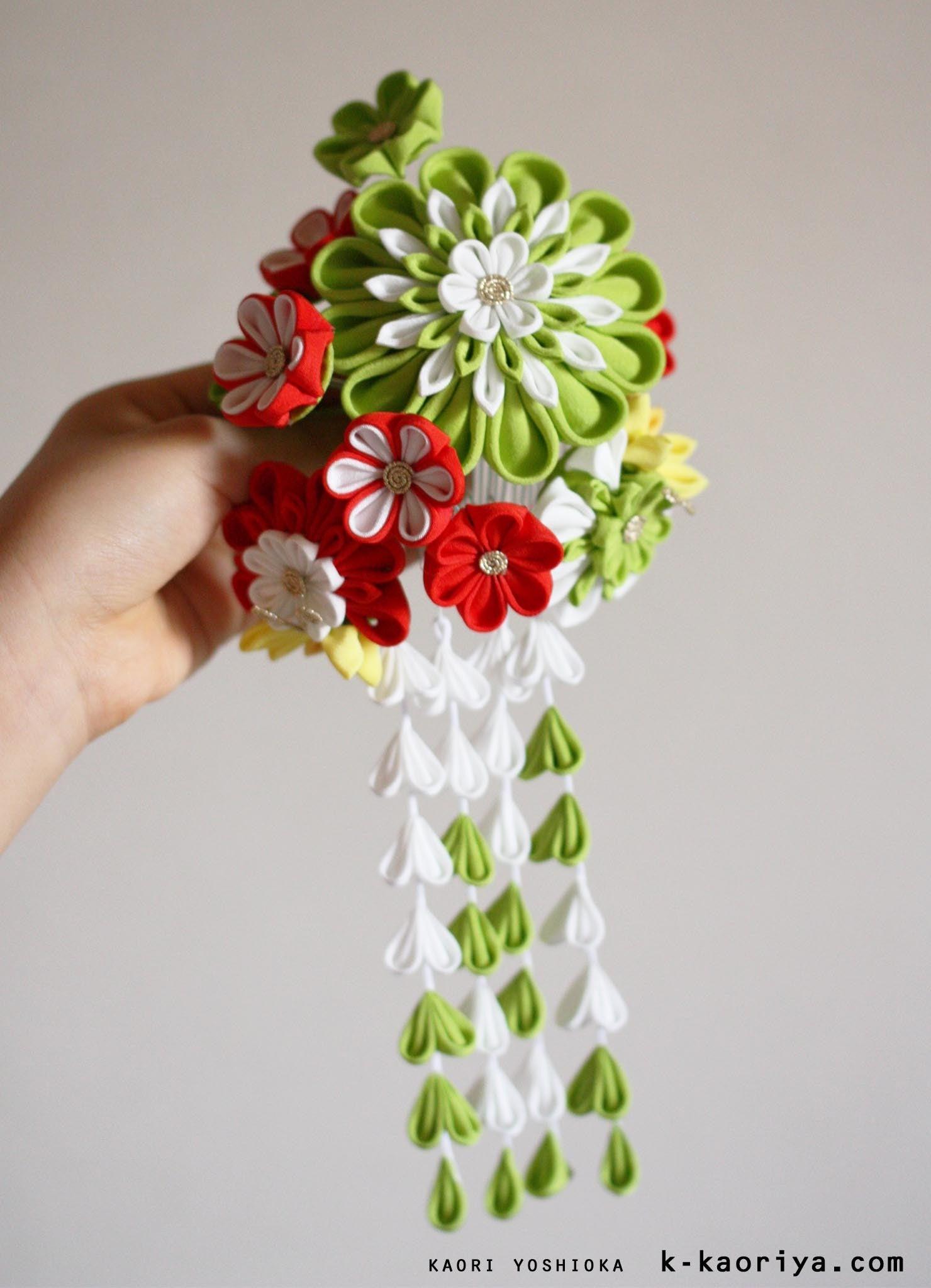 KYOTO 加織屋のブログ 京都のつまみ細工  髪飾り かんざし 成人式 卒業式 七五三 成人式の髪飾り。「大輪に蝶」(つまみ細工 成人式 かんざし 振袖に合わせて 和装 結婚式)