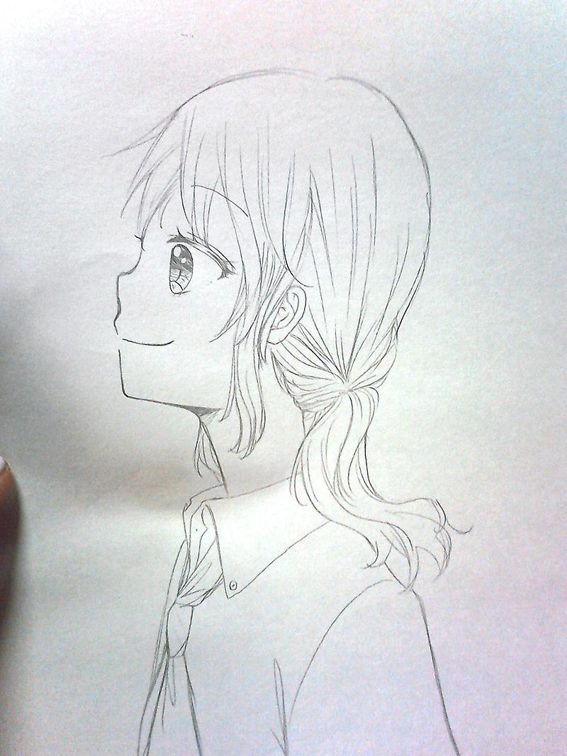 女の子 横顔 イラスト