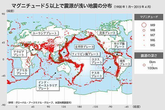 マグニチュード5以上で震源が浅い地震の分布