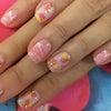 ピンク フラワーアートネイルの画像