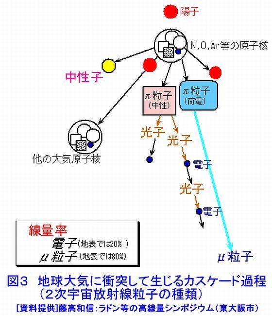 二次宇宙放射線粒子の種類