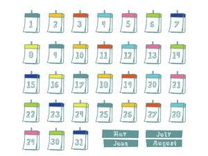 カレンダーの素材イラスト 5月 8月 Nancysdesignイラスト部