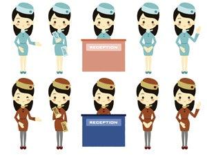 接客をする女性5ポーズのイラスト Nancysdesignイラスト部