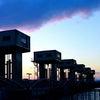 夕暮れの樋門群 「児島湾締切堤防」の画像