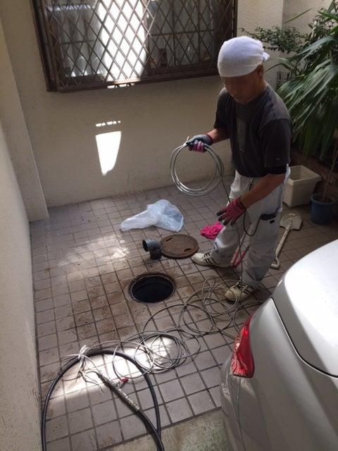 水回り配管、屋外会所枡を高圧洗浄!