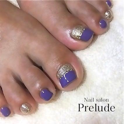 フットネイル☆紫×ゴールド