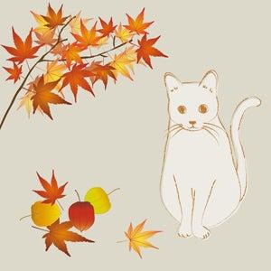 秋紅葉と猫のイラスト Nancysdesignイラスト部
