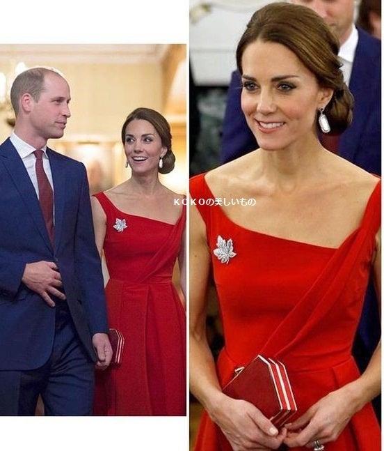 速報 英国王室キャサリン妃ロイヤルツアーファッション2016カナダ 赤いサテンドレス9/26 Paris