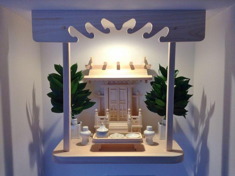 長三宝と角花榊立セットの神棚板