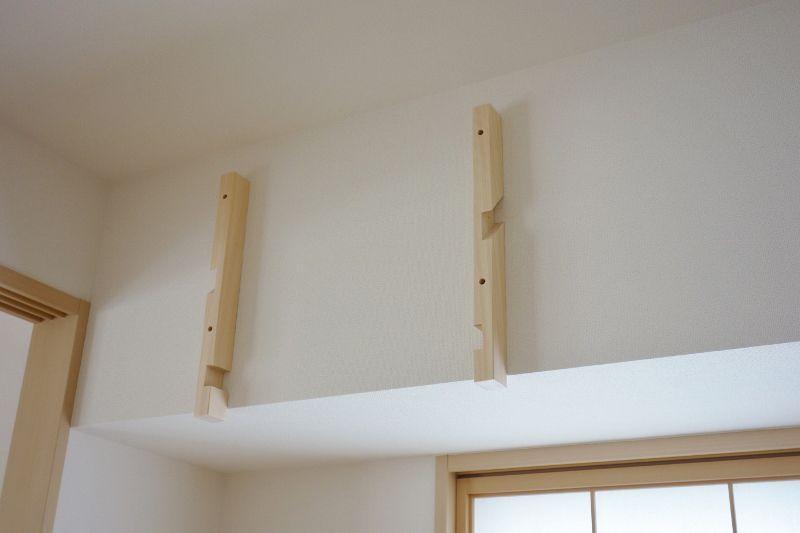 石膏ボードの壁面に支柱を固定