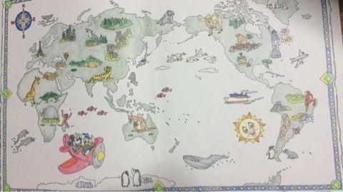 塗り絵旅するディズニー 地図アリスプーさん 大人の塗り絵と時々