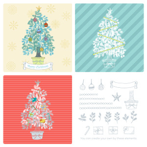 手書きクリスマスツリーセットのイラスト Nancysdesignイラスト部