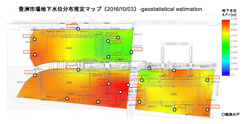 豊洲地下水位マップ20161003