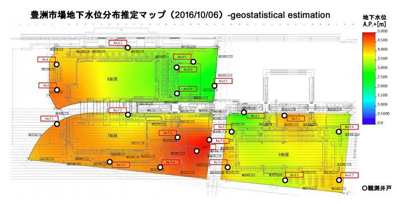 豊洲地下水位マップ20161006