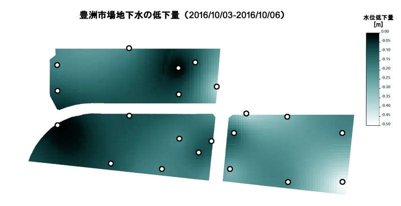 豊洲地下水位変動マップ20161003-06