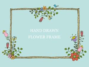 手書きの花フレームのイラスト 長方形2種 Nancysdesignイラスト部