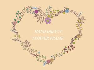 手書きの花フレームのイラスト ハート型2種 Nancysdesignイラスト部