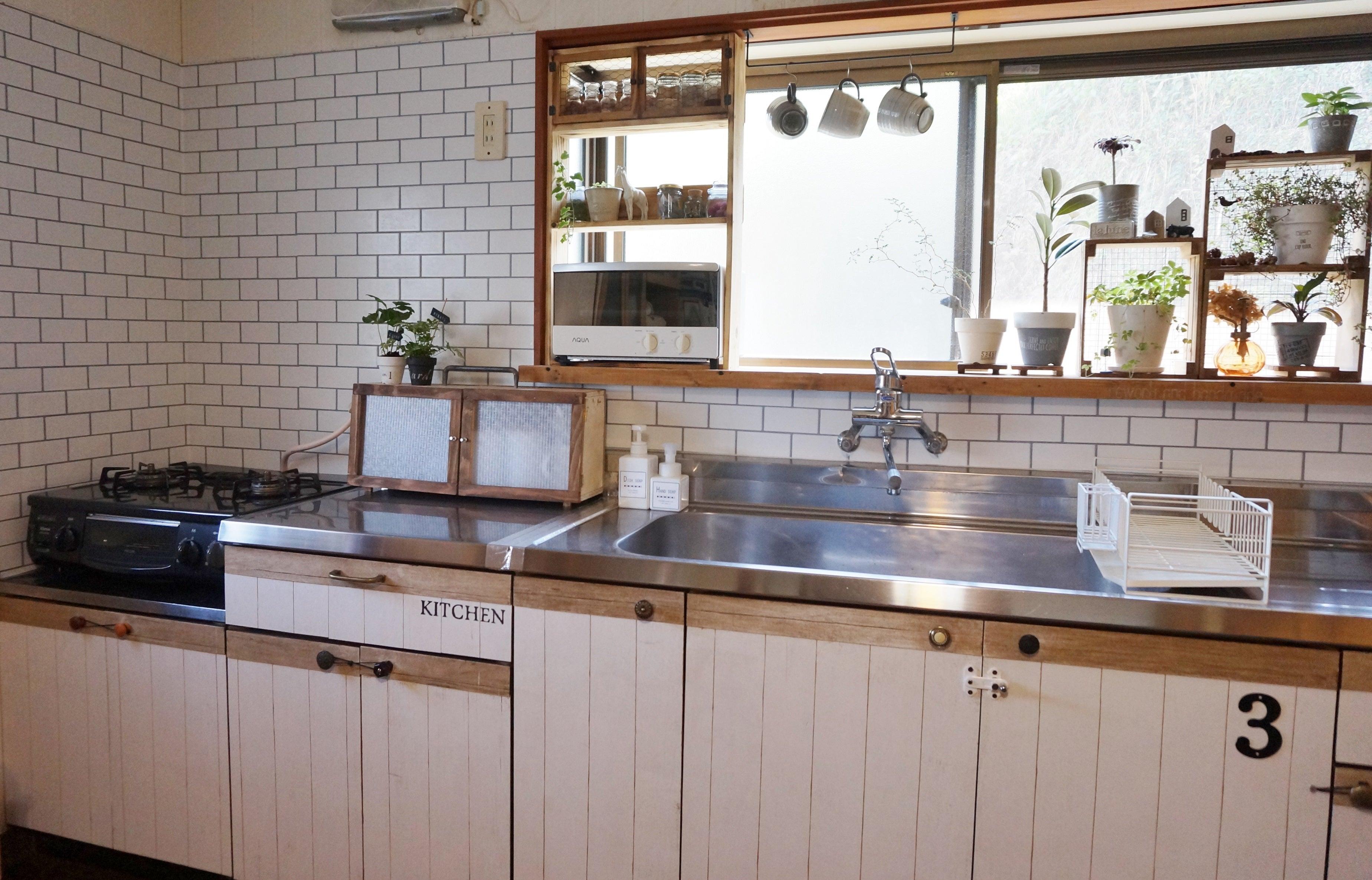 キッチンにサブウェイタイル風壁紙を貼りました My Home Color