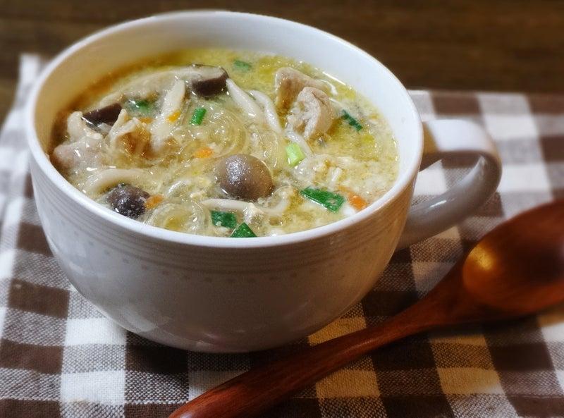 豚肉とキノコのかき玉 春雨スープ